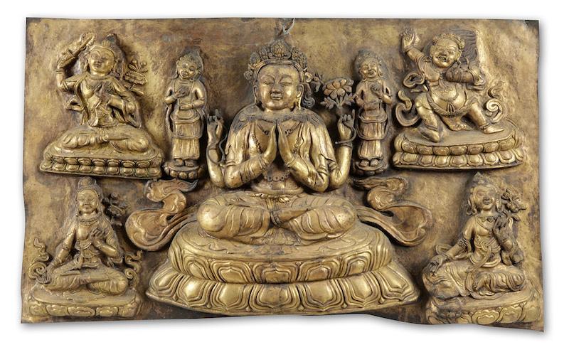 Buddhistisk relief.Tibet, Qingdynastin, 1700-tal.