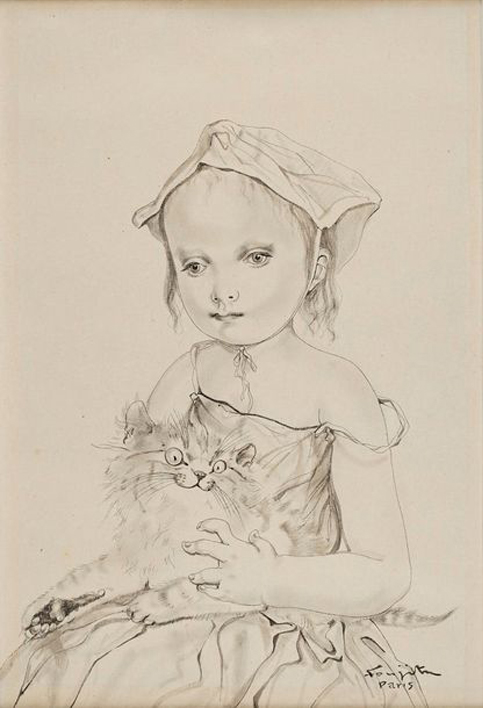 Léonard Tsuguharu Foujita, 'Fillette au chat', 1951. Photo: © Rossini