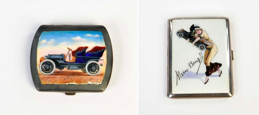 "Links: Zigarettenetui mit Widmung, Emailledeckel, um 1910   Rechts: Zigarettenetui ""Mein Benz"", um 1910"
