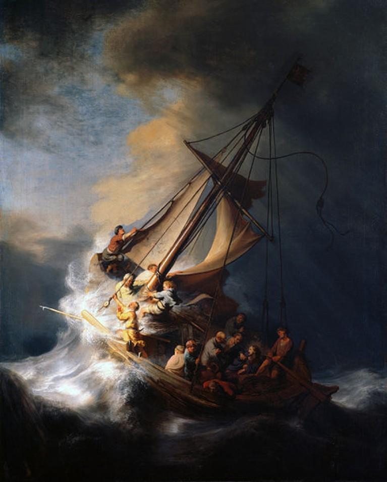 La tempesta del mare di Galilea, Rembrandt van Rijn. 1633, olio su tela.