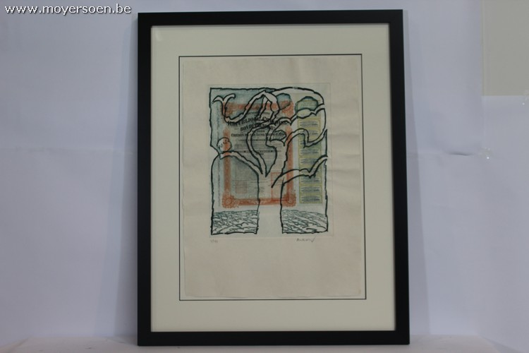 PIERRE ALECHINSKY - Originale und einzige Collage auf handgeschöpftem Japanpapier mit Farbe und Aquatinta, 1973 Startpreis: 1.500 EUR