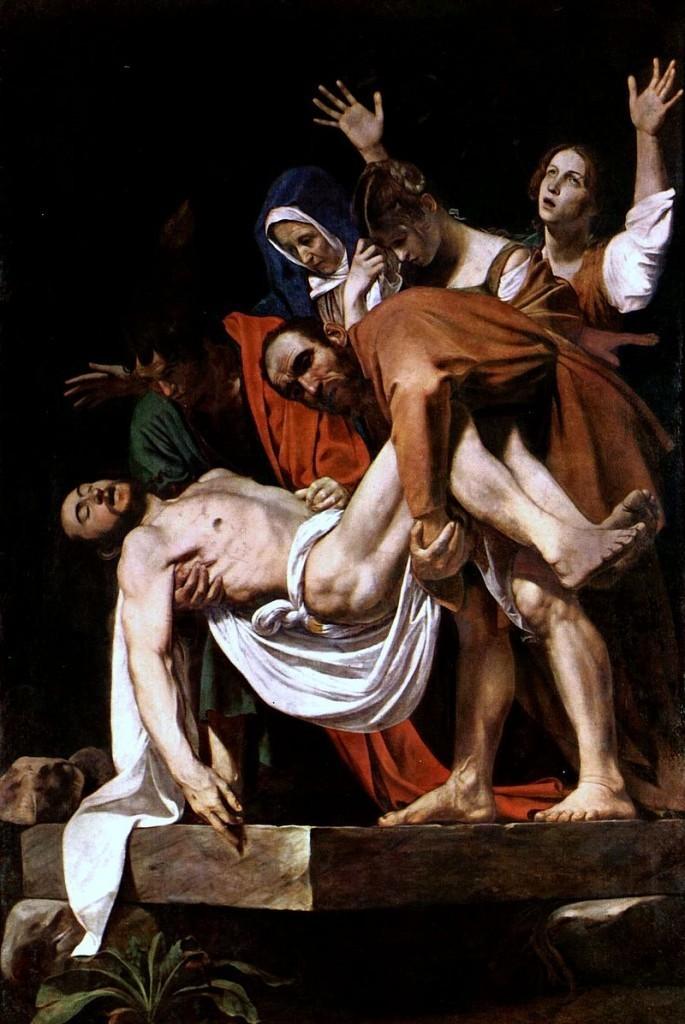 Le Caravage, La mise au tombeau du Christ, vers 1602-04, image via Wikipedia