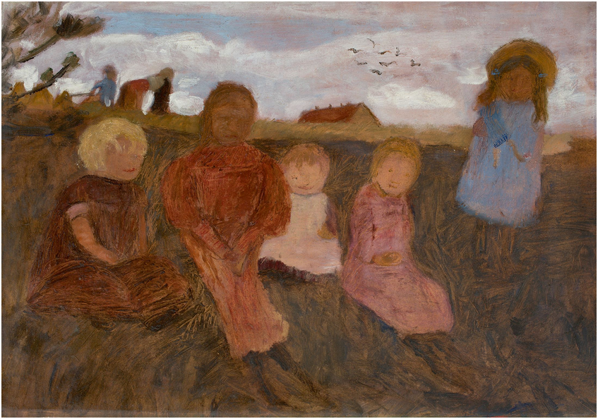 PAULA MODERSOHN-BECKER (1876 Dresden - 1907 Worpswede) - Fünf Kinder an einem Hang, rechts Elsbeth, 1902