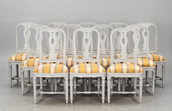 """Stolar, """"Hallunda"""", ur IKEA:s 1700-tals serie, sent 1900-tal. Slutpris: 30 400 kronor, Bukowskis Market, 2014."""