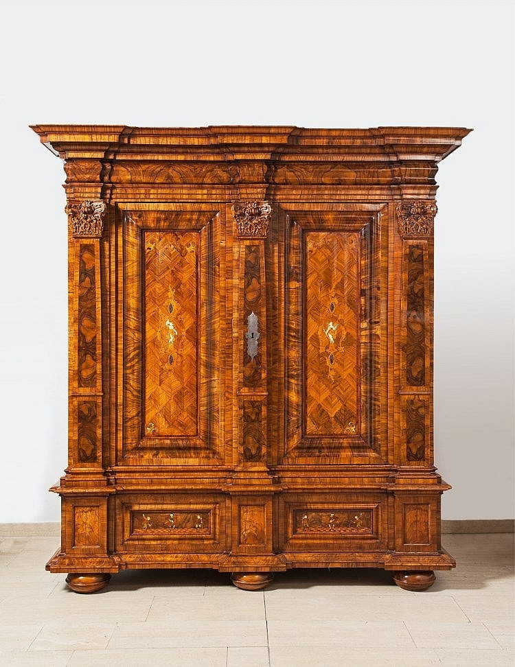 An Opulent Frankfurt Baroque inlaid cabinet