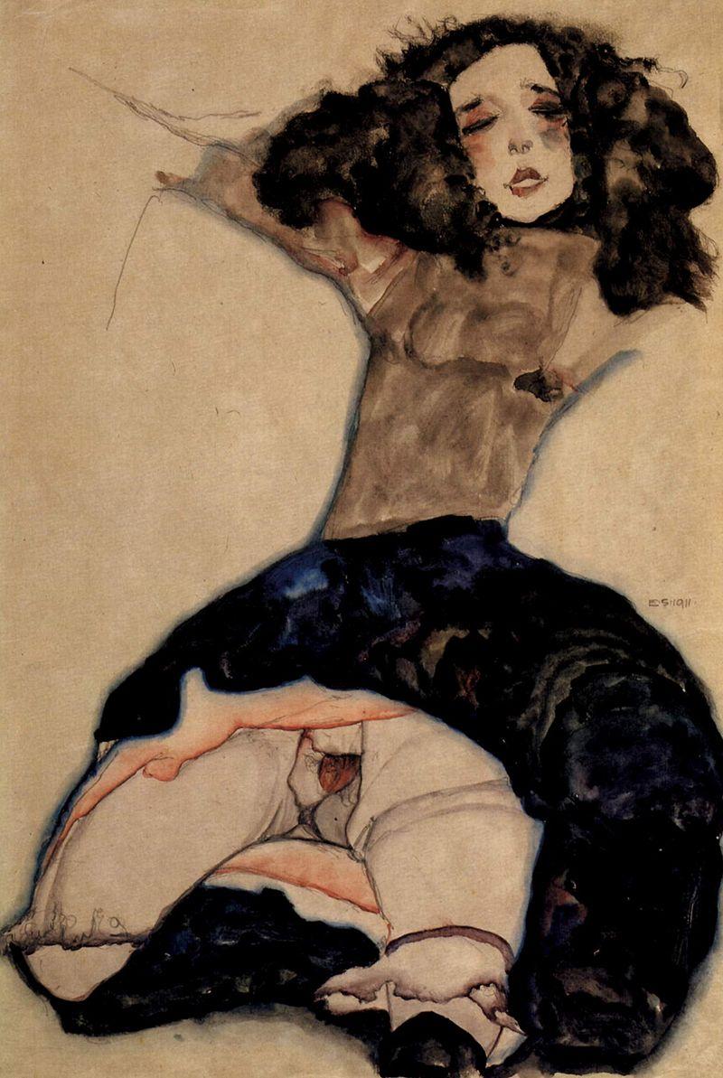 Egon Schiele, Fille aux cheveux noirs sans jupe (1911) Leopold Museum, Vienne, Autriche