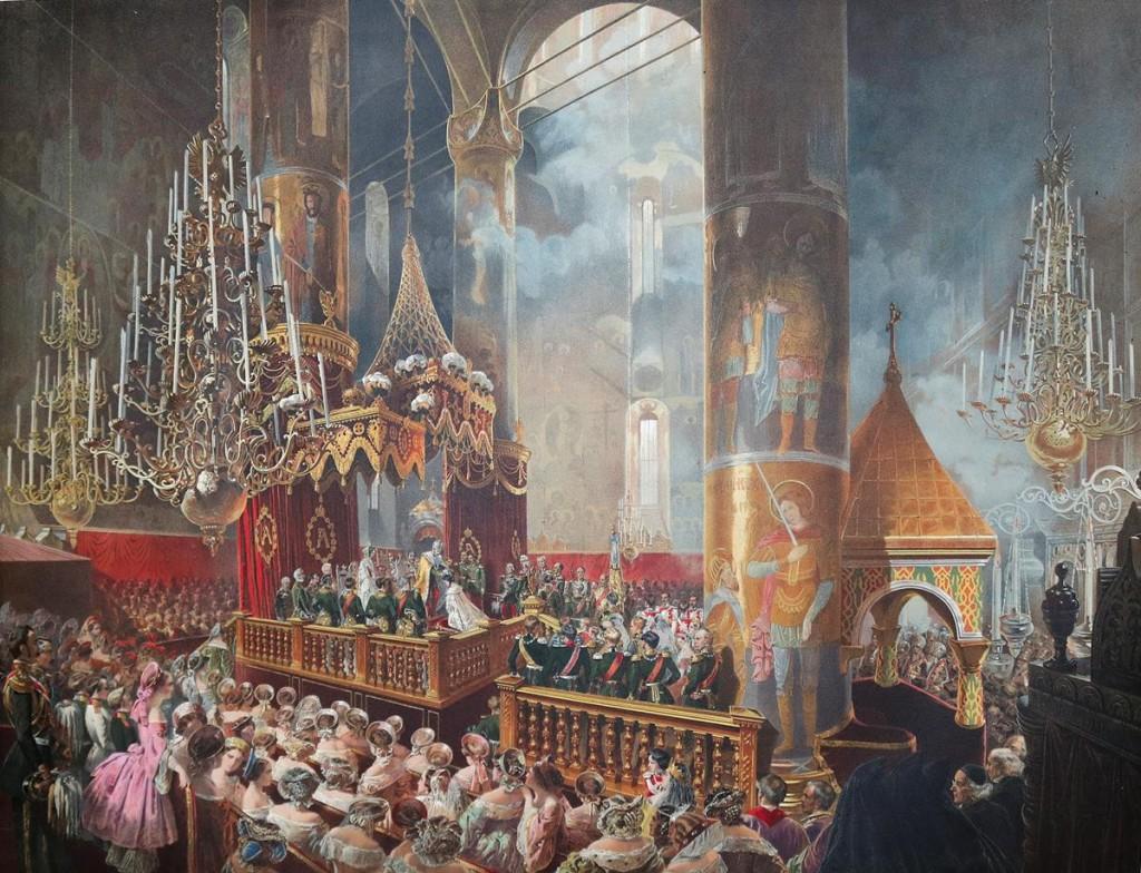Nachdem Zar Alexander II. sich selbst gekrönt hat, setzt er seiner Gemahlin Maria Alexandrowna die Zarinnenkrone aufs Haupt