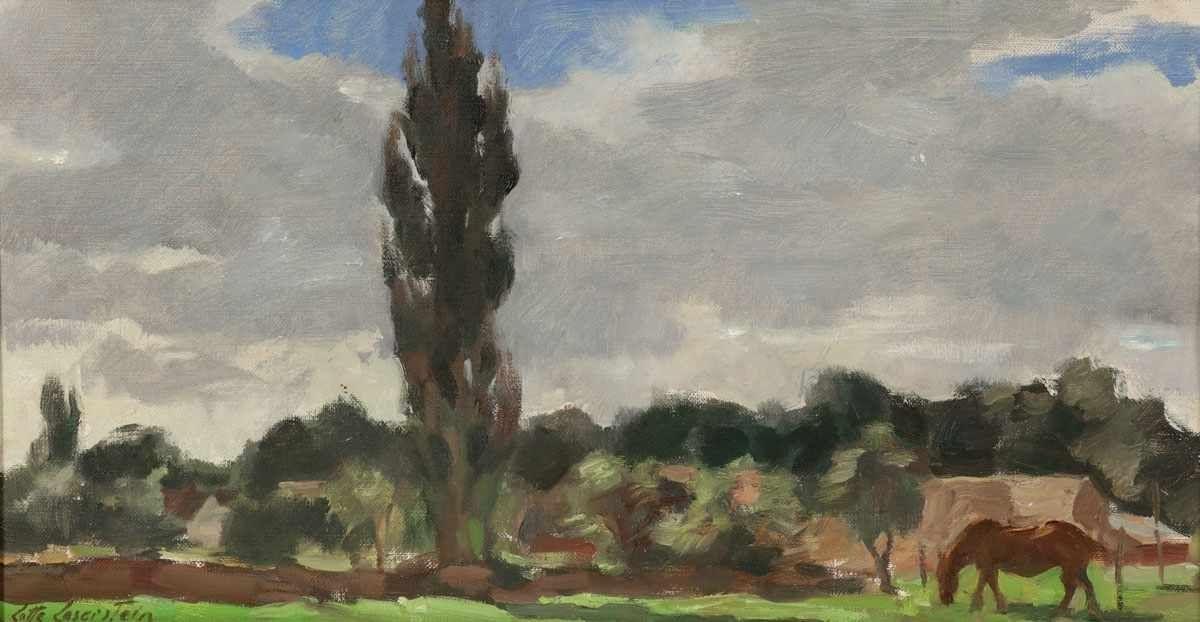 Lotte Laserstein (1898 Preußisch Holland - 1993 Kalmar), Grasendes Pferd in Landschaft vor weitem Himmel, Öl/Lwd., signiert