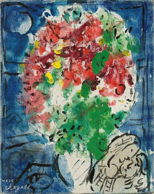 Marc Chagall, Bouquet sur fond bleu, 1948-50