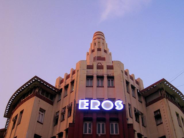 Art Deco style Eros Theatre in Mumbai Image via Eros Cinema