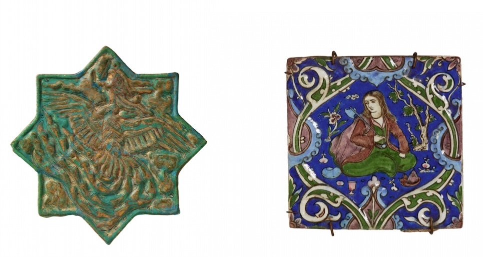 Vänster: Kakelplatta i form av en stjärna. Iran, slutet av 1200-talet. Höger: Kakelplatta, Iran slutet 1700-1800-talet.
