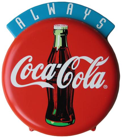 Enseigne publicitaire Coca-Cola en plastique, années 1980