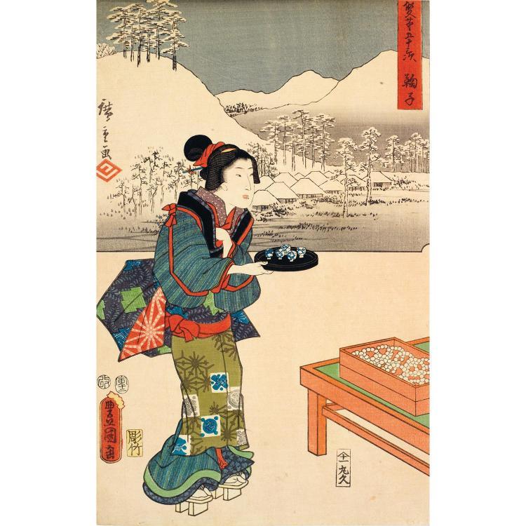TOYOKUNI III & HIROSHIGE (1796-1858) Estampe Oban Tate-e Japon, période Édo, XIXe siècle Tajan