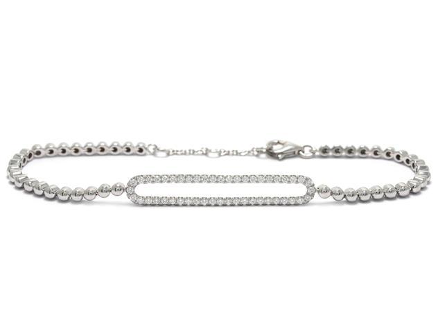 Armband, 18K vitguld med briljantslipade diamanter.