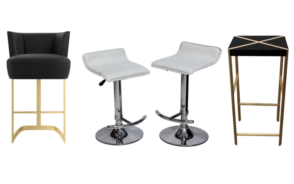 "Links: Marioni - Barstuhl ""Joan"" Artemest Mitte: Paar moderne Barhocker, Chrom, Leder Austin Auction Rechts: Hagit Pincovici - Barstuhl ""Knod"" Artemest"