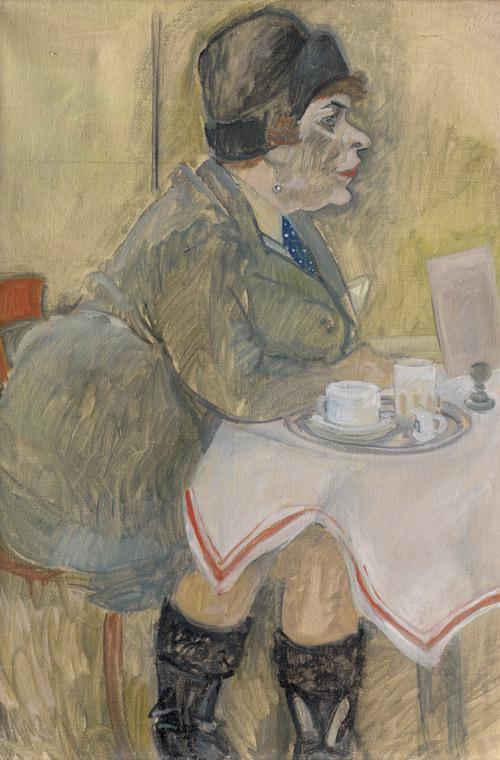 """GEORG TAPPERT (1880-1957) - """"Café"""" (Sitzende im Café), Öl/Lwd., 100 x 68 cm, betitelt und signiert, 1920er Jahre Schätzpreis: 30.000 EUR"""