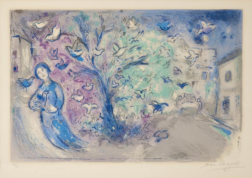 MARC CHAGALL (1887 Witebsk - 1985 St. Paul de Vence) - La chasse aux oiseaux (Der Vogelfang), kolorierte Lithografie, signiert, 1961