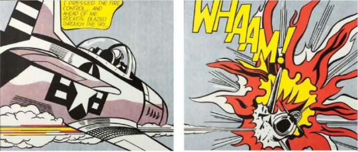 Roy Lichtenstein, Whaam !, 2013, Diptyque d'offsets couleurs, signé sur le panneau de gauche « rf Lichtenstein »