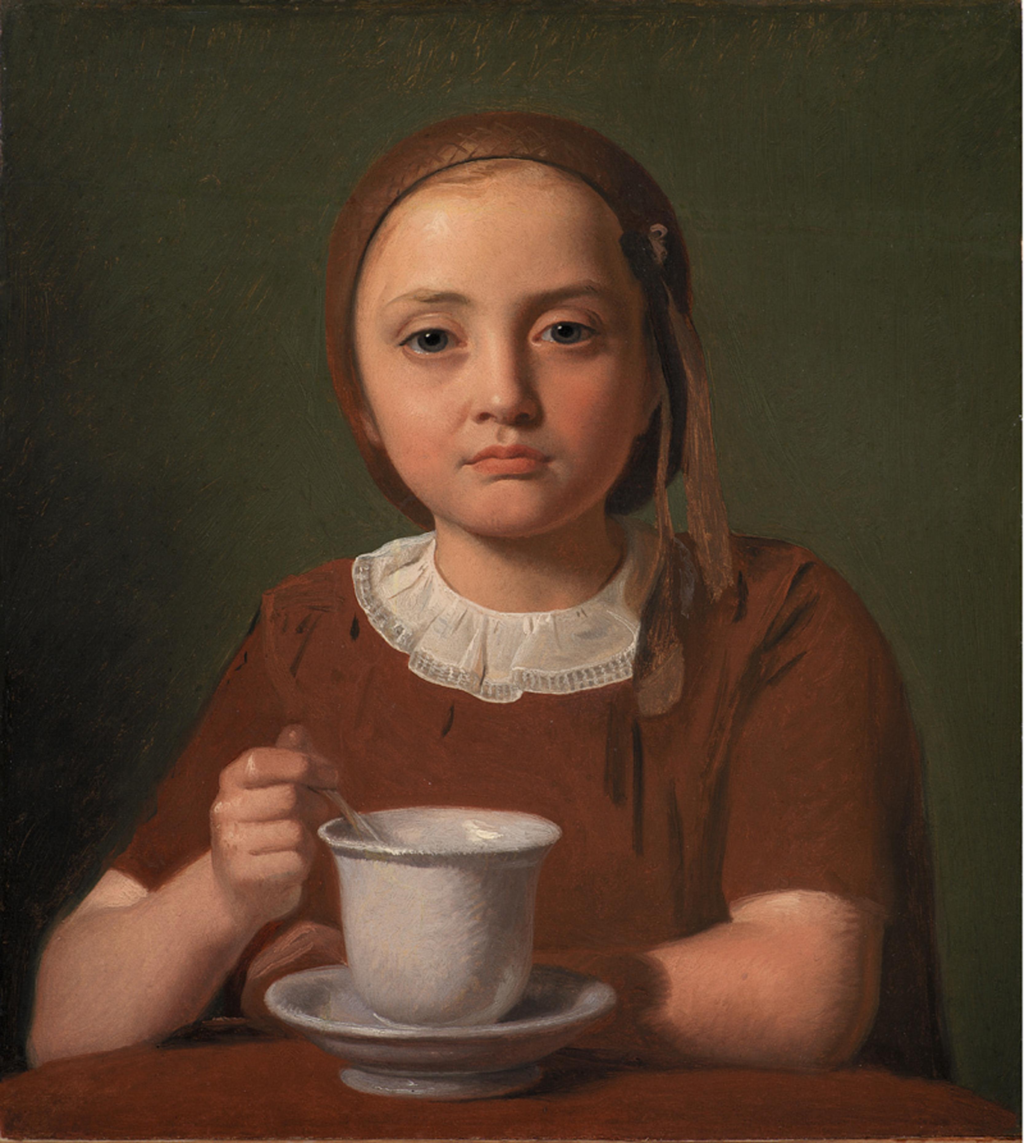 """Constantin Hansen, """"En lille pige, Elise Købke, med en kop foran sig"""", 1850. Olja på papper uppklistrat på duk. SMK, Statens Museum for Kunst."""
