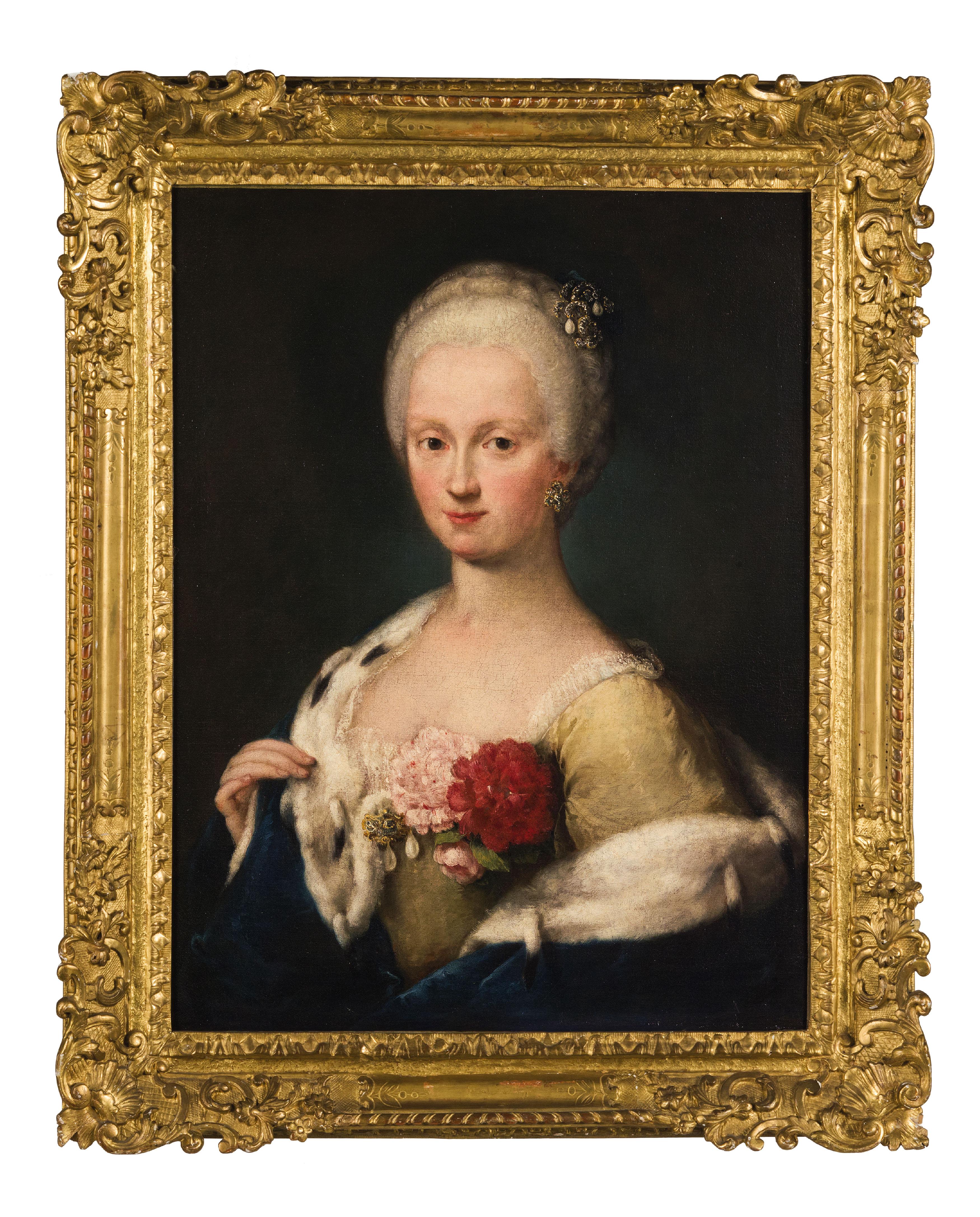 ALESSANDRO LONGHI (1733 Venedig 1813) - Portrait einer Dame mit Hermelin, Öl/Lwd.