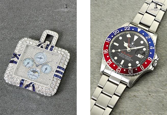 """AUDEMARS PIGUET - Quantième Perpétuel No. 1, WG, Diamanten, Genf ca. 1994 Rechts: ROLEX Oyster Perpetual GMT-Master Superlative Chronometer, Stahl """"Pepsi""""-Lunette, ca. 1977"""