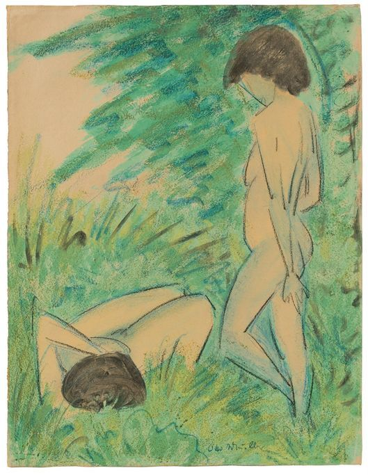 OTTO MUELLER (Liebau / Silésie 1874-1930 Breslau) - Deux femmes dans la forêt, aquarelle / craie / papier signé