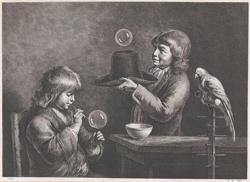 Zwei spielende Knaben und ein Papagei 1799