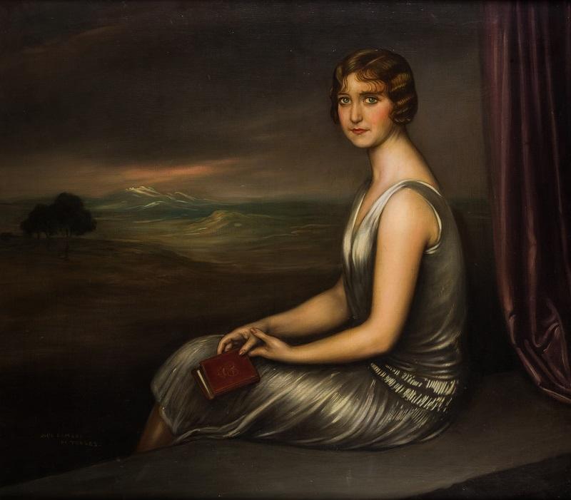 "JULIO ROMERO DE TORRES (Córdoba 1874-1930). ""Retrato de joven dama"""