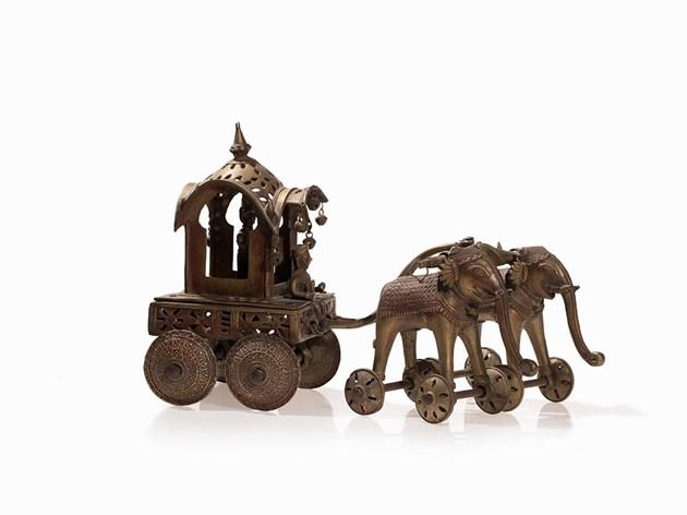 Bronze temple et calèche tirée par des éléphants, 19e/20e siècle