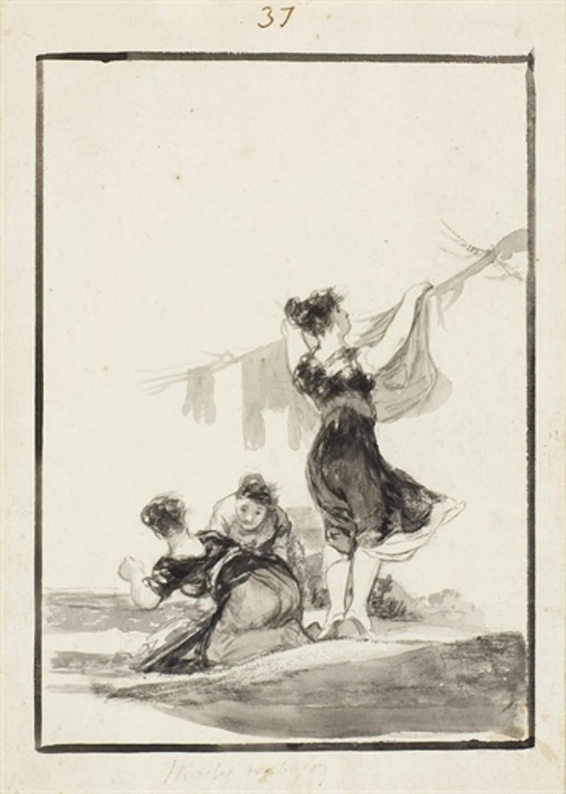 Fransisco Goya, «Hutiles Trabajos», dessin à l'encre appartenant à «Album E», numéroté 37, image via Christie's