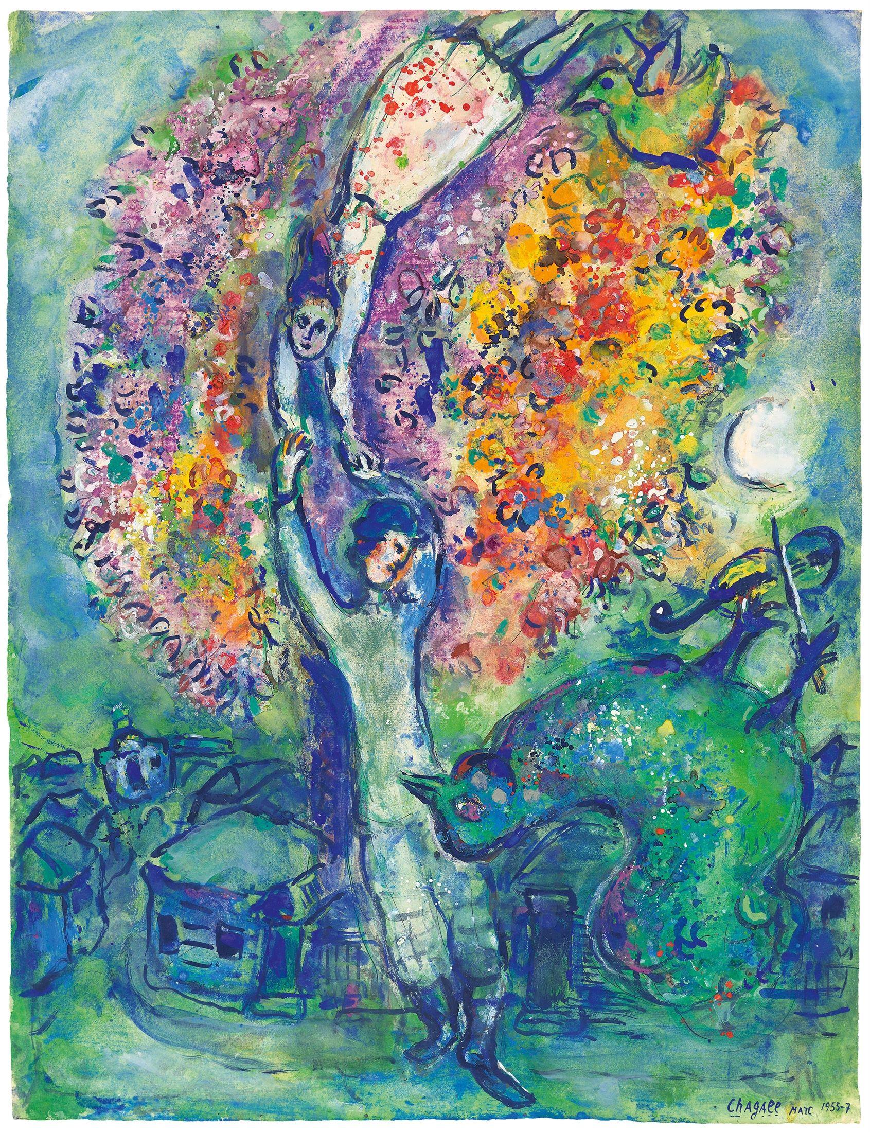 MARC CHAGALL (1887 Witebsk - 1985 Saint-Paul-de-Vence) - La joie, Gouache, Aquarell, Pastell, Bleistift/Velin, bezeichnet, signiert und datiert, 1955-7