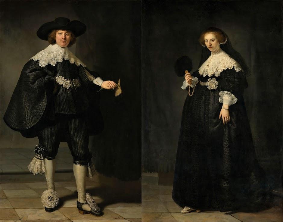 Rembrandt van Rijn, Hochzeitsportraits von Marten Soolmans und Oopjen Coppit, 1634. 2015 erwarben das Rijksmuseum und der Louvre das Gemäldepaar gemeinsam für 160 Millionen Euro.