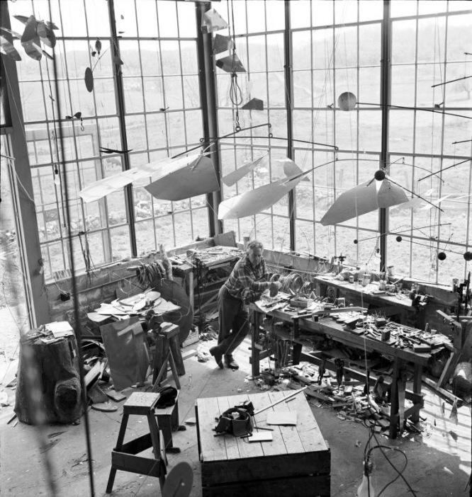 Alexander Calder in his Roxbury studio, 1941 Image via Tate Modern