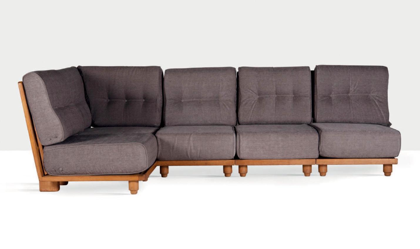 Robert Guillerme et Jacques Chambron, sofa en teck, vers 1970