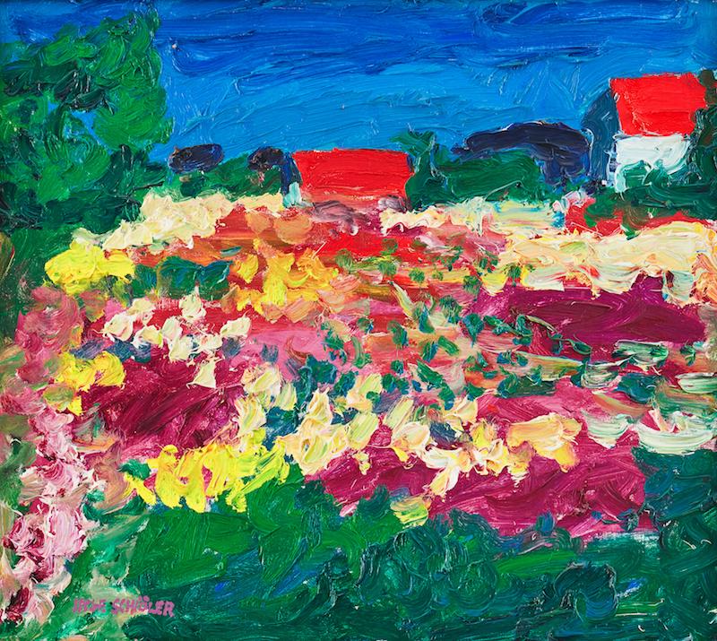 Inge Schiöler, Röda hustak, 1970 säljs hos Uppsala Auktionskammare