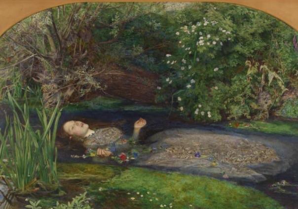 "Sir John Everett Millais målning ""Ofelia"" målad 1851-1852."