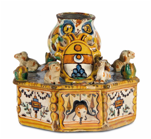 Rare inkwells from Urbino (manufactured by PATANAZZI ()?) Or Deruta - polychrome painted and decorated with four dogs, H: 14.5 cm, first half 17th century. On sale at Cambi Casa d'Aste