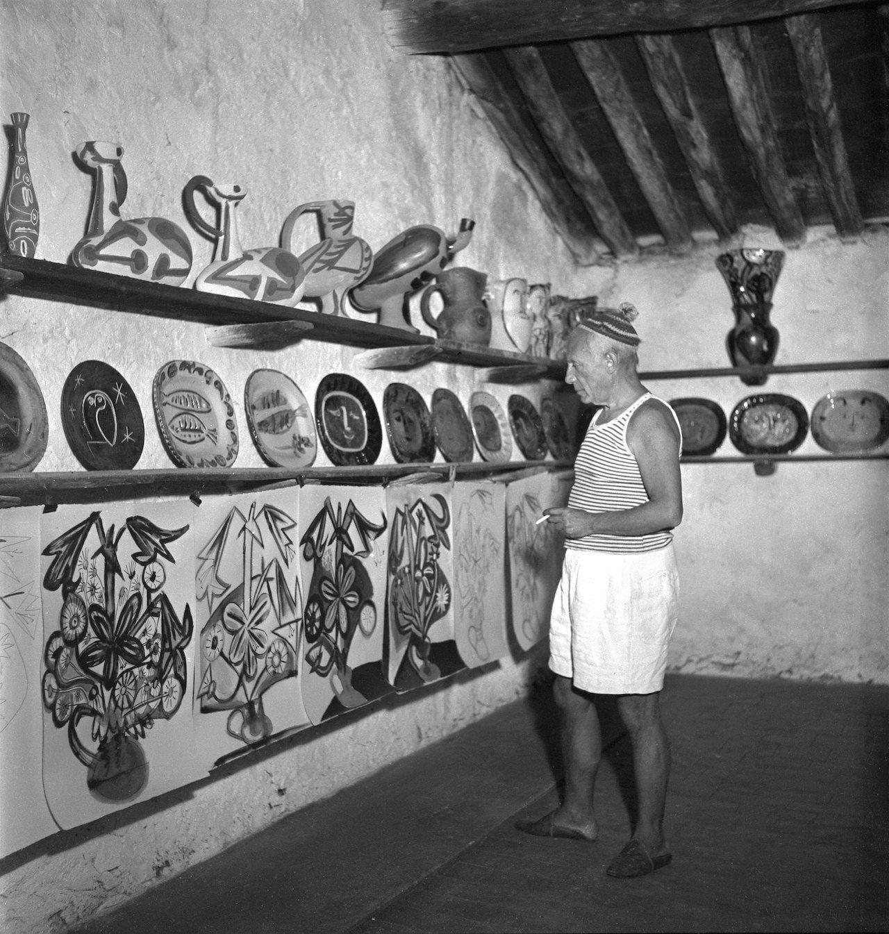 Picasso with his ceramics.