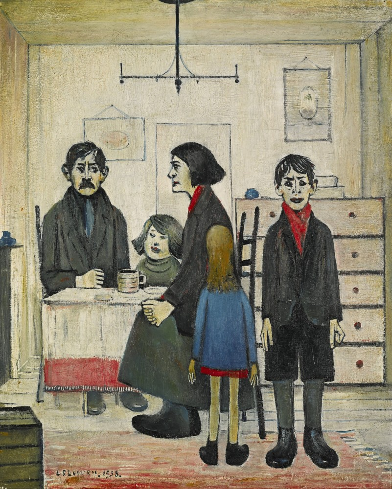 Photo caption: The Lowry painting with the highest estimated value of the three is this work, titled Family Group, painted by the artist in 1938. It could bring up to $1 million. Image: Sotheby's