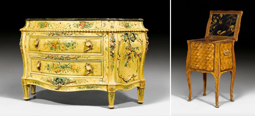 "Links: Lack-Kommode ""a fleurs"", fein geschnitztes Holz, Venedig um 1770/80   Rechts: Kombinationsmöbel mit Lack-Plateau, Veilchen-, Satin- und Amaranthholz, Paris um 1760/65"