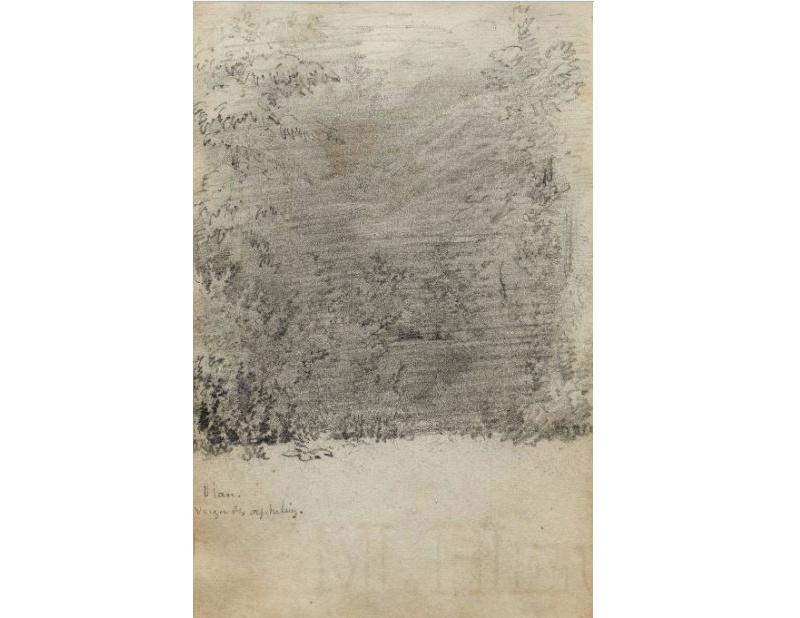 ALBERT ANKER. Waldstudie. Estudio a lápiz del cuaderno de bocetos de julio de 1847