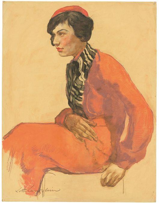 LOTTE LASERSTEIN (1898 Preußisch Holland - 1993 Kalmar) - Dame mit roter Baskenmütze, Ölkreide/Papier, signiert, um 1931