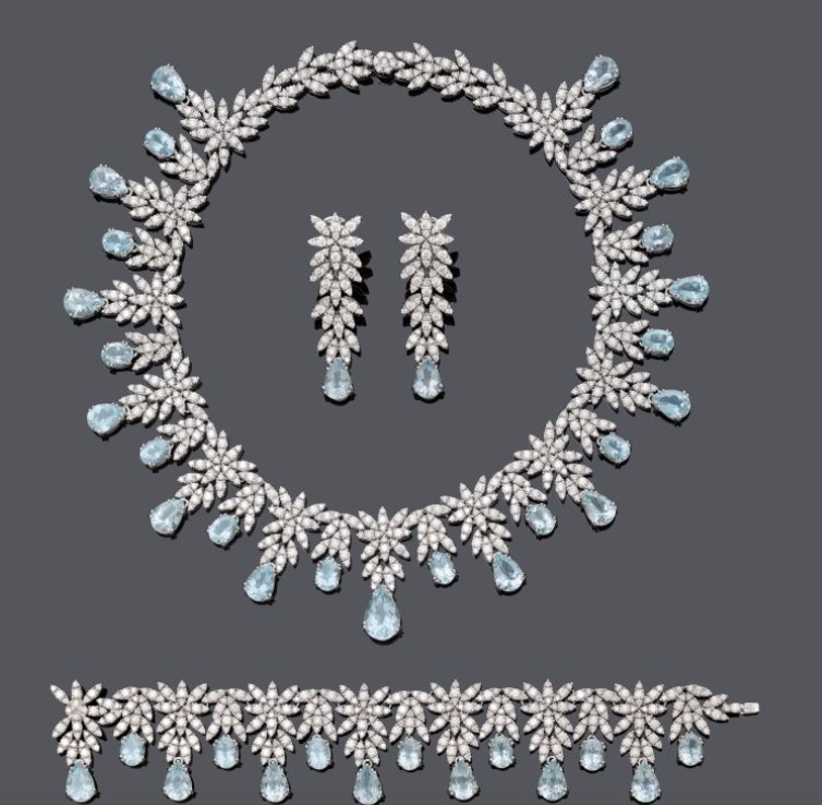 Pasquale Bruni, Parure, the Ghirlanda Collection, white gold with aquamarines and diamonds