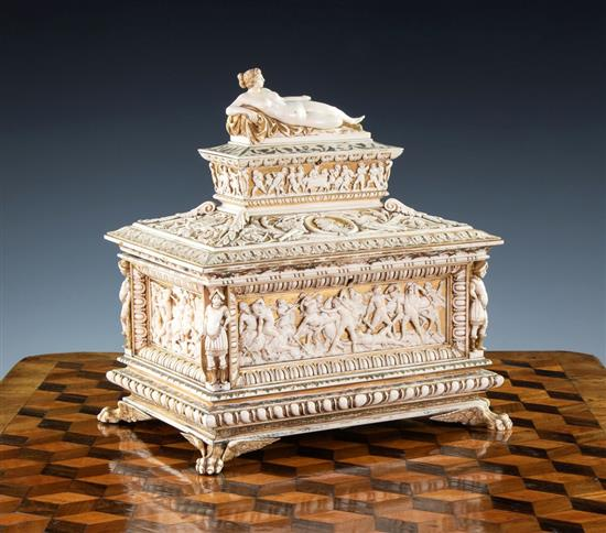 A North Italian or South German Carved Ivory, Parcel Gilt and Polychrome Painted Marriage Casket. Photo: Martel Maides