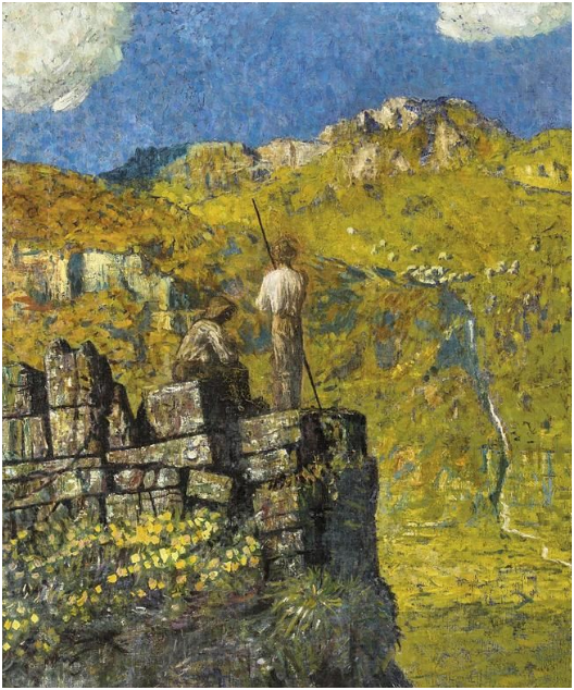 FRIEDRICH HELL (1869-1957) - Dos excursionistas