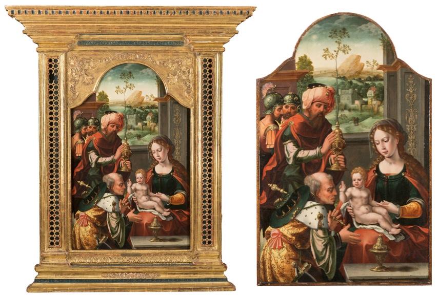 Antwerpener Schule - Die Anbetung der Heiligen Drei Könige, Öl/Eichenholz, mit Rahmen 129,5 x 110,5 cm, um 1520/1550 Limitpreis: 20.000 EUR