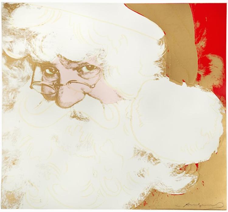 """""""Santa Claus"""", som skildras i detta arbete av Andy Warhol, var en av de tio fiktiva figurer i konstnärens """"Myter""""-serie som publicerades av Ronald Feldman Fine Arts, Inc. i New York. Verket bär en fängslande fantasi, precis som Musse Pigg och Superman från samma serie, inte bara som en meningsfull symbol för amerikansk pop och marknadskultur men också som den universellt erkända personifikationen av julen. Karaktären är sammansatt av de symboliska färgerna rött, vitt, grönt och guld med konturerna i skimrande diamantdamm. Nummer 16 av 200. Utropspris 337 000 SEK."""