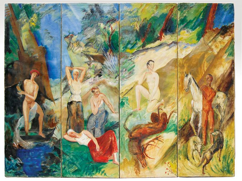 ALFRED PARTIKEL (Goldap, Ostpreußen 1888 - Ahrenshoop 1945) - Das Goldene Zeitalter, 4-teilig, Öl/Lwd., je ca. 171 x 55 cm, rechts signiert und datiert, 1924 Katalogpreis: 25.000 EUR