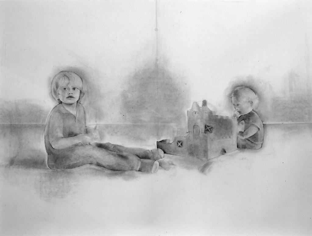Porträtt kol på papper 150 x 130 cm