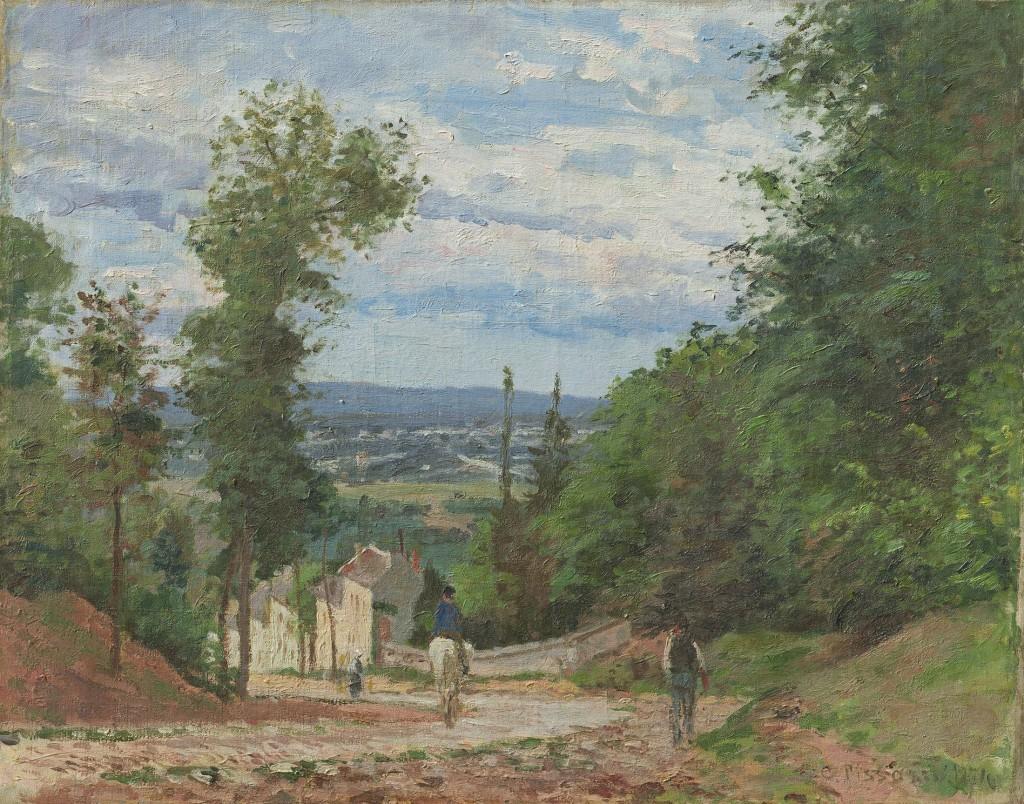 CAMILLE PISSARRO (Saint-Thomas-des-Antilles 1830 – 1903 Paris) - La Route de Marly, Louveciennes, signé et daté, 1871